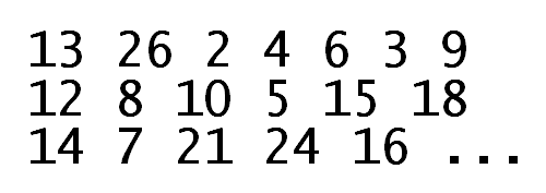 [13 26 2 4 6 3 9 12 8 10 5 15 18 14 7 21 24 16 ...]