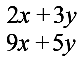 u=2x+3; v=9x+5